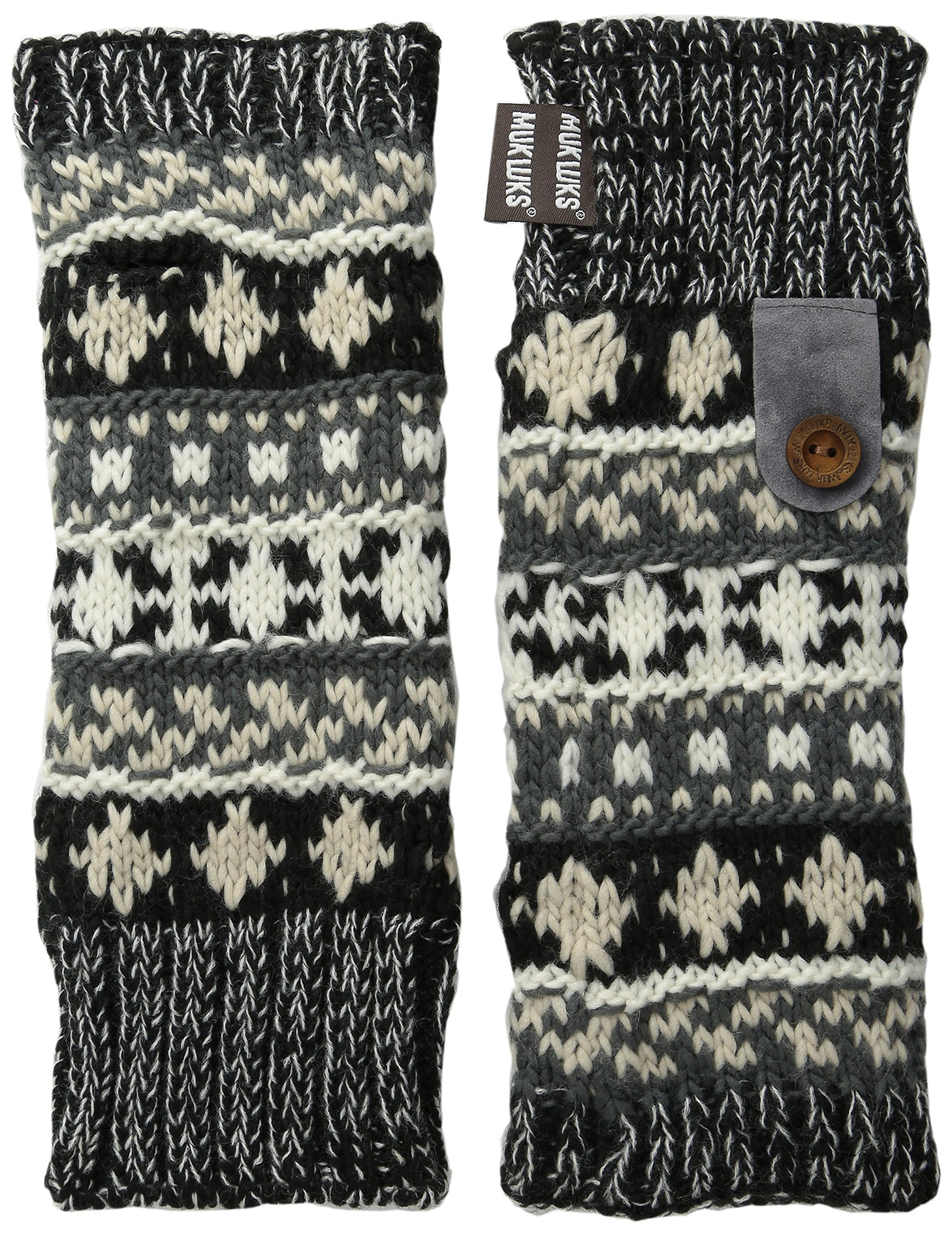 Muk Luks Women's Armwarmers, Dark Gray/Black, One Size