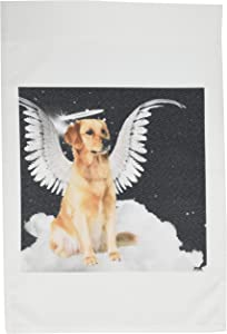 3dRose fl_62894_1 Golden Retriever Angel Dog Sitting on a Cloud with a Cute Halo and Angel Wings Garden Flag, 12 by 18-Inch