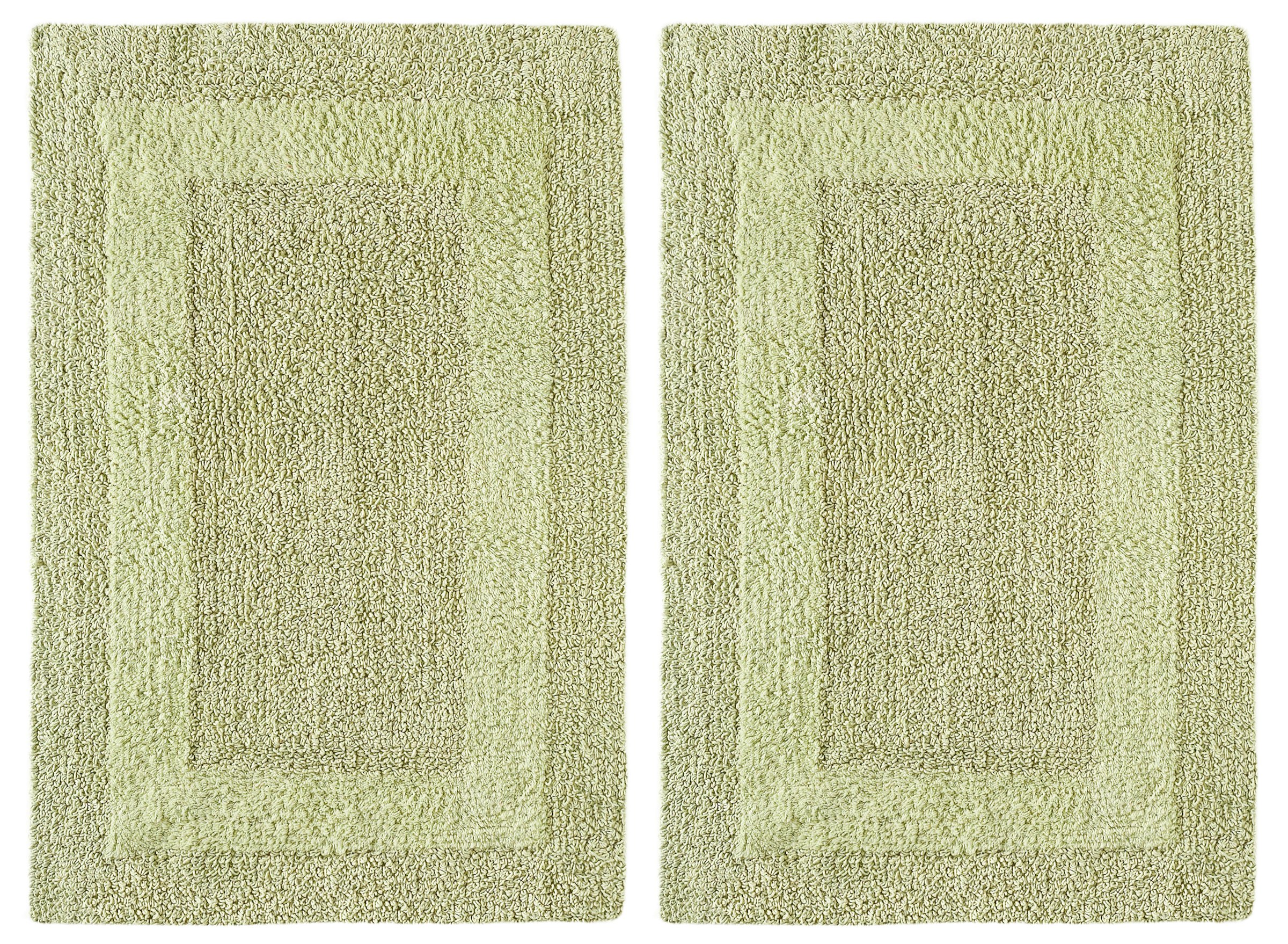 Cotton Craft 2 Piece Reversible Step Out Bath Mat Rug Set 17x24 Sage, 100% Pure Cotton, Super Soft, Plush & Absorbent, Hand Tufted Heavy Weight Construction, Full Reversible, Rug Pad Recommended
