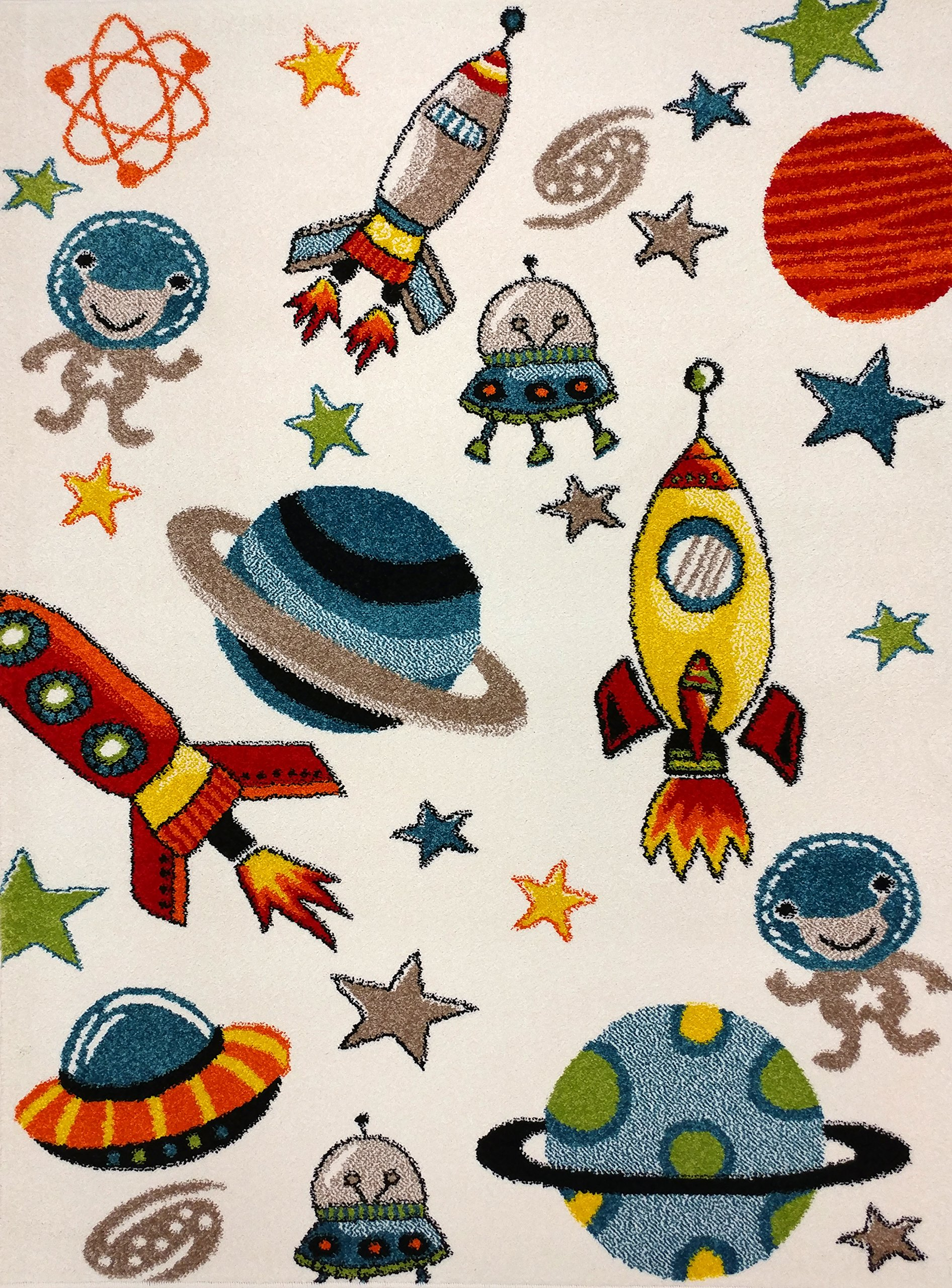KC Cubs Boy and Girl Bedroom Modern Decor Area Rug and Carpet Collection For Kids and Children Aliens and Rocket in Outer Space (3' 11'' x 5' 3'')