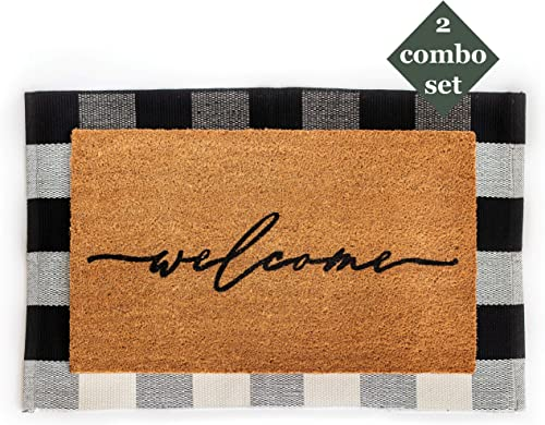 Layered Outdoor Welcome Mat Set – Coconut Coir 18-inch x 30-inch and Woven Doormat 24-inch x 35-inch Combo Inside or Outside Pet Friendly Rug for Entry Porch, Deck, Patio, or Mudroom Black Check