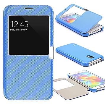 1a86923deea URCOVER® Funda Protectora Cartera View Flip Case | Samsung Galaxy S5 | TPU  Plastique en Azul | Carcasa Protección Pantalla con Ventana Wallet Cover:  ...