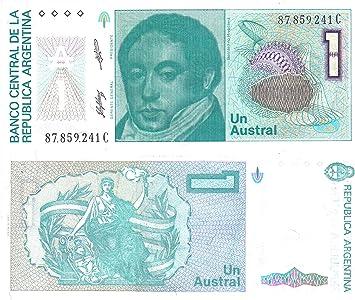 Argentina un billete austral publicado por el Banco Central de Argentina para los coleccionistas de billetes / diseño 1985: Amazon.es: Juguetes y juegos