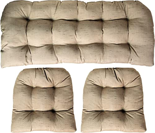 RSH DECOR Sunbrella Frequency Sand 3 Piece Wicker Cushion Set – Indoor Outdoor Wicker Loveseat Settee 2 Matching Chair Cushions – Linen Look Tan Beige