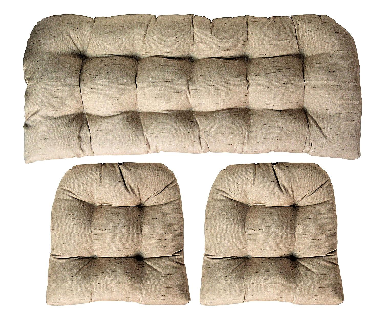 RSH DECOR Sunbrella Frequency Sand 3 Piece Wicker Cushion Set – Indoor Outdoor Wicker Loveseat Settee 2 Matching Chair Cushions – Linen Look Tan Beige