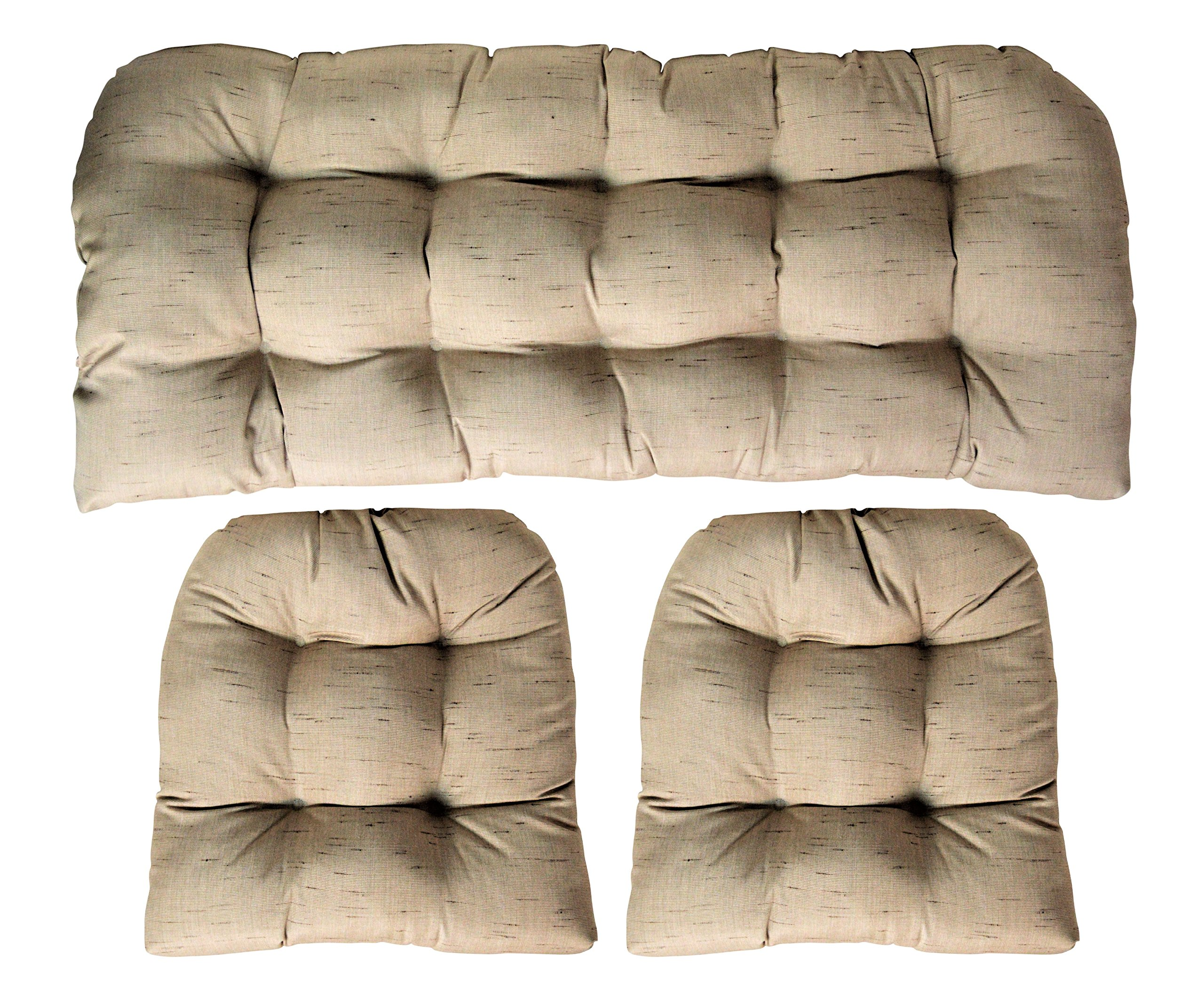Sunbrella Frequency Sand 3 Piece Wicker Cushion Set - Indoor / Outdoor Wicker Loveseat Settee & 2 Matching Chair Cushions - Linen Look Tan / Beige