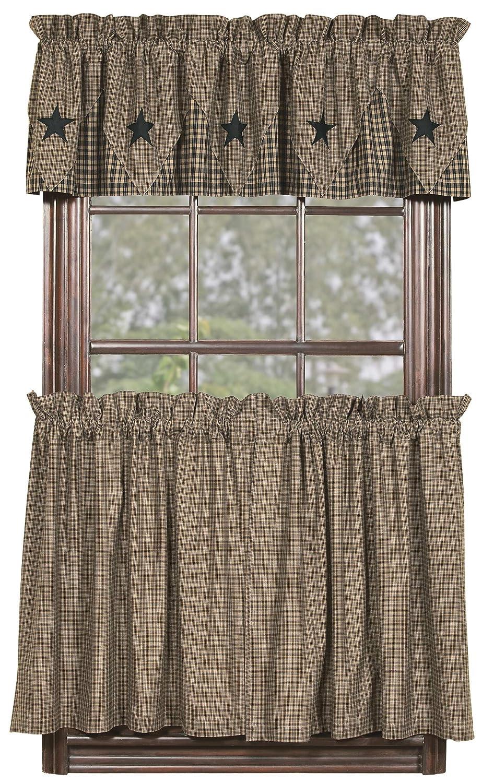 "Amazon IHF Home Decor 36"" Tier Curtain Vintage Star Black"