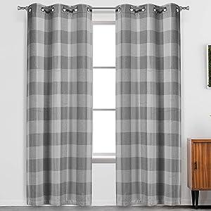 "Blackout 365 Aaron Buffalo Plaid Check Blackout Curtain Set, 37"" W x 84"" L, Grey"