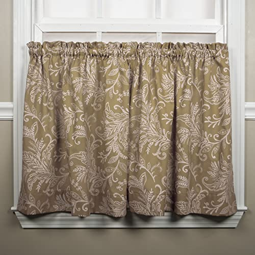 Ellis Curtain Floating Leaves Tailored Tiers, 68 x 24 , Natural