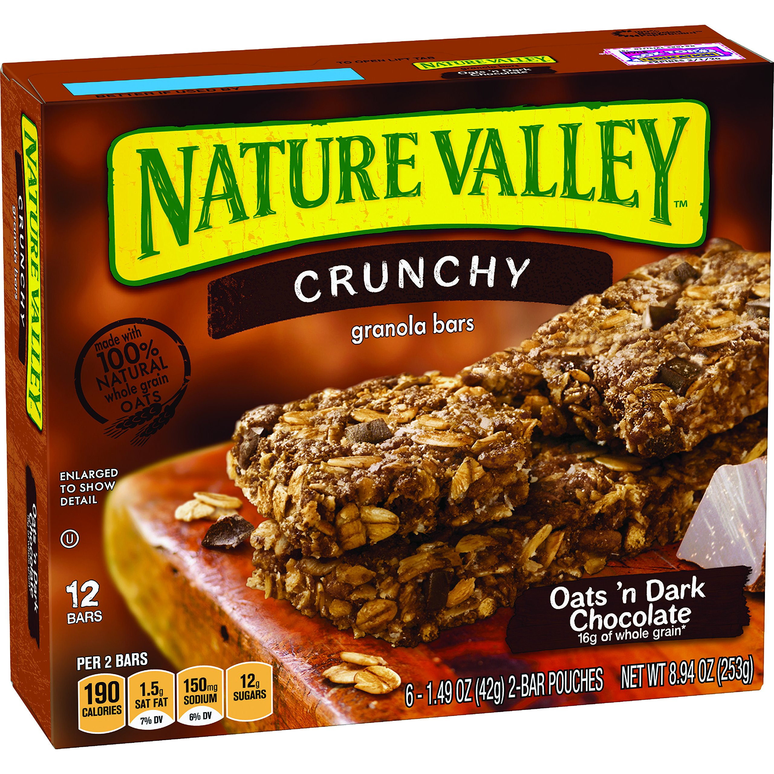 Nature Valley Granola Bars, Crunchy, Oats and Dark Chocolate, 12 Count, Pack of 6 by Nature Valley