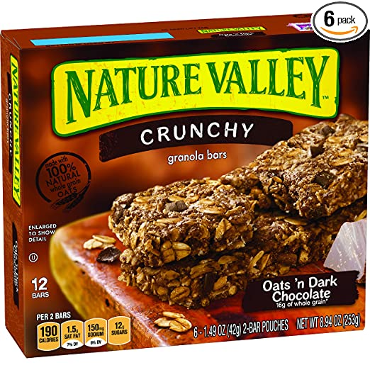 Nature Valley Granola Bars, Crunchy, Oats and Dark Chocolate, 6 Pouches- 1.49 oz, 2-Bars Per Pouch , 8.94 Oz(Pack of 6)