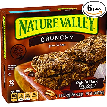 Nature Valley Granola Bars, Crunchy, Oats And Dark Chocolate, 6 Pouches   1.49