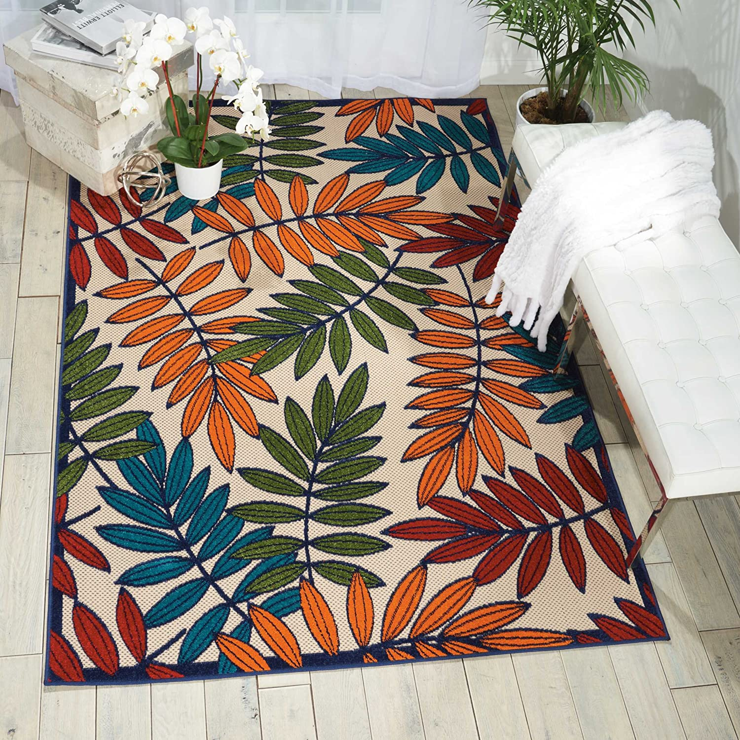 "Nourison Aloha Multicolor Indoor/Outdoor Area Rug 5 feet 3 Inches by 7 Feet 5 Inches, 5'3""X7'5"""