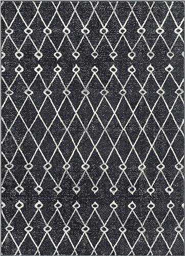Viaje Trellis Grey Distressed Traditional Vintage Moroccan Diamond Lattice Area Rug 8×11 7'10″ x 9'10″ Carpet