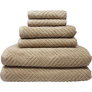 Smyrna Basket Weave Design 100-percent Luxury Turkish Cotton 6-Piece Towel Set, 600g, Latte