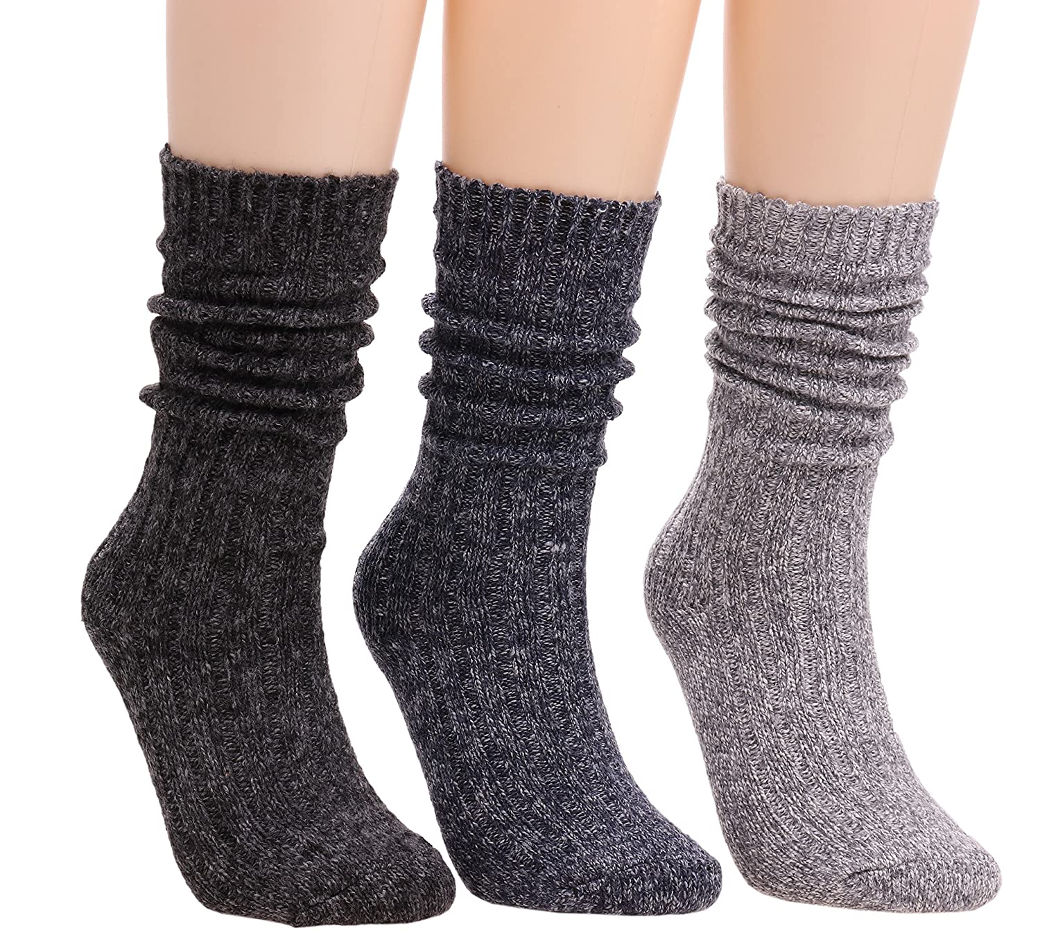 Womens 3 Pairs Casual Vintage Knit Warm Cotton Boot Crew Socks 5-9 WS65 #WS65 Mixed