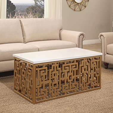 Abbyson Micah Rectangle Coffee Table in Gold