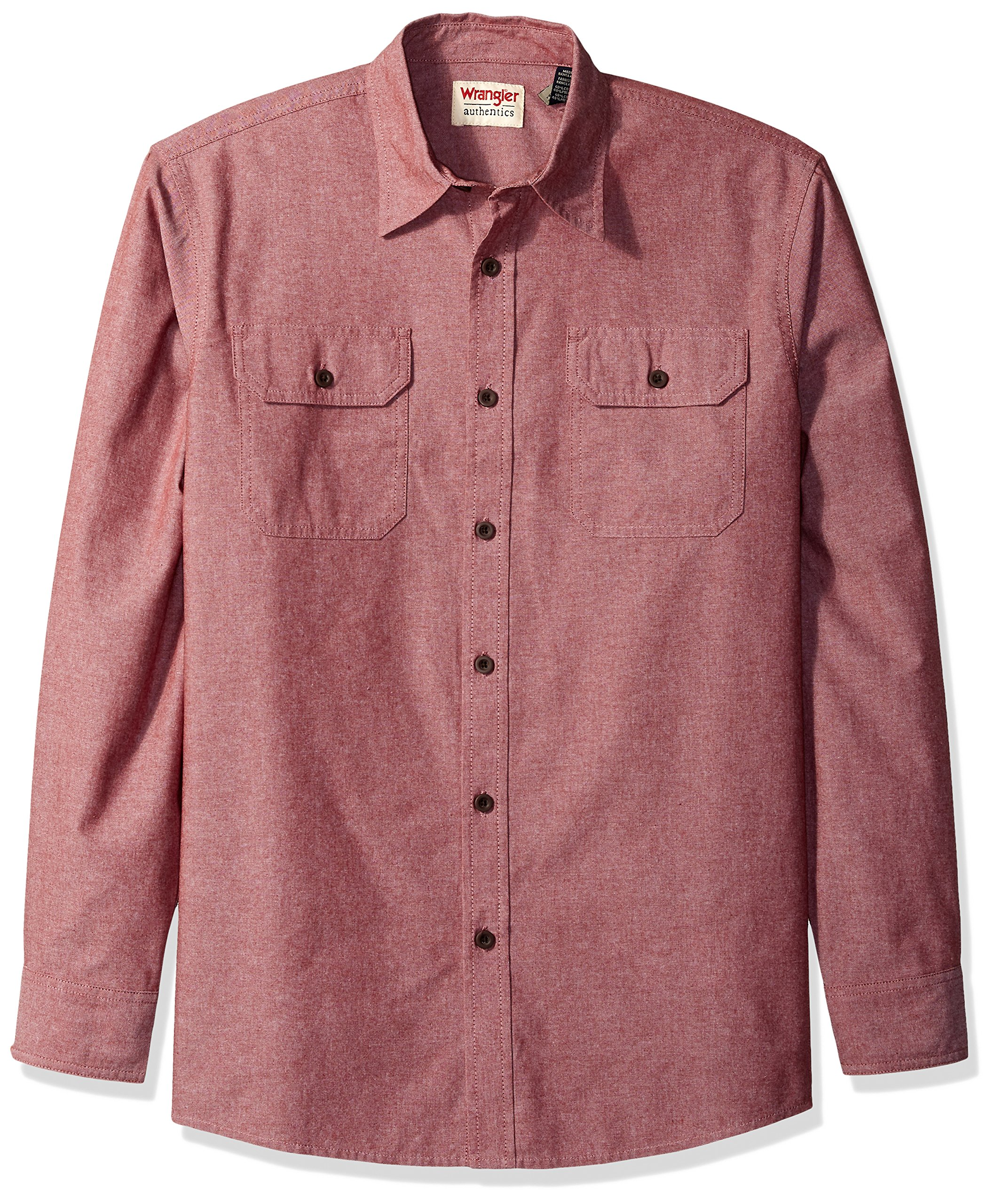 Wrangler Authentics Men's Authentics Long Sleeve Classic Woven Shirt, Cowhide Chambray, 2XL by Wrangler