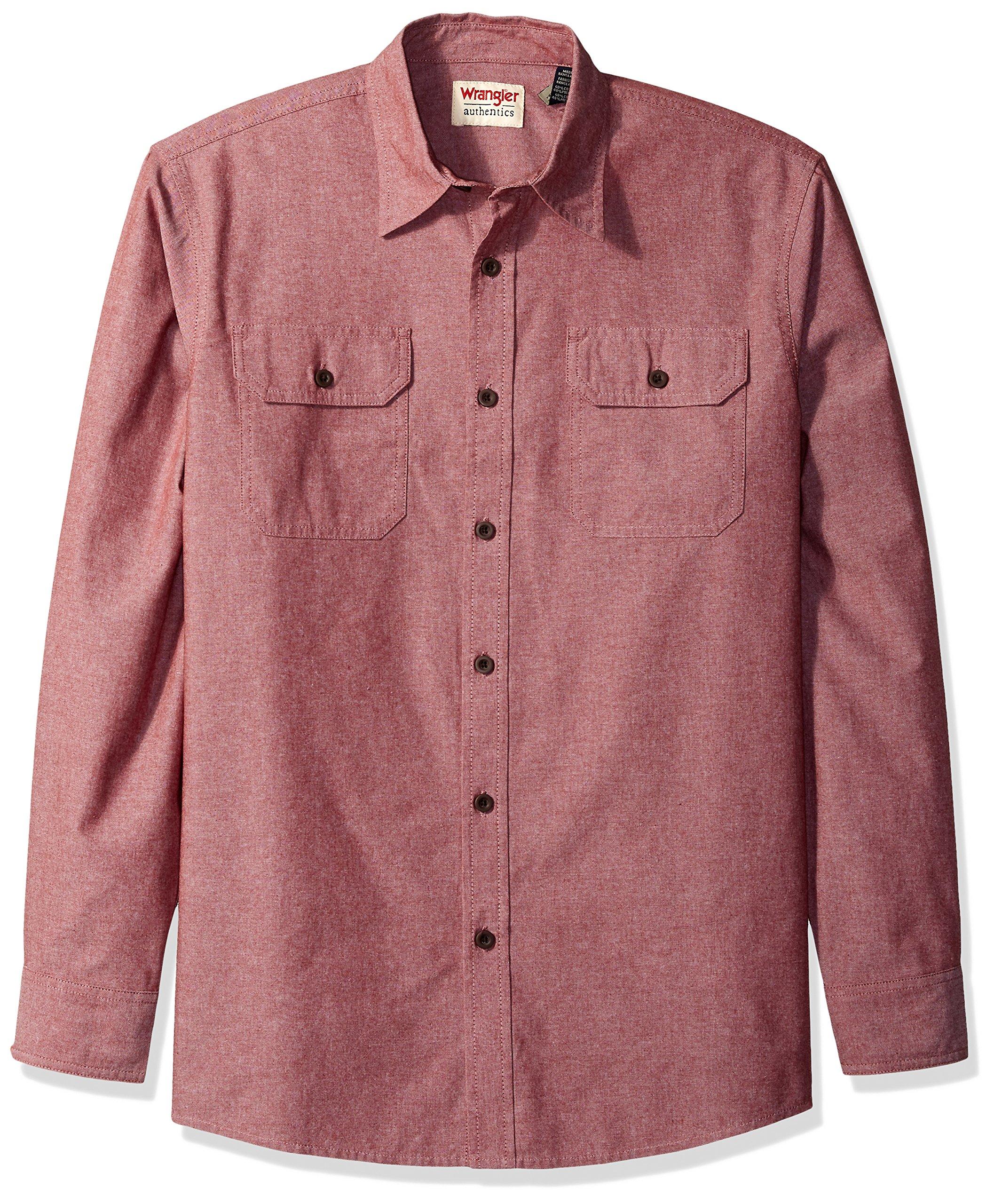 Wrangler Men's Authentics Long Sleeve Classic Woven Shirt, Cowhide Chambray, L