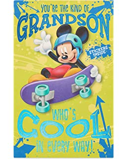 Amazon disney junior valentine card lollipop kit 12 count american greetings mickey mouse birthday card for grandson with foil m4hsunfo