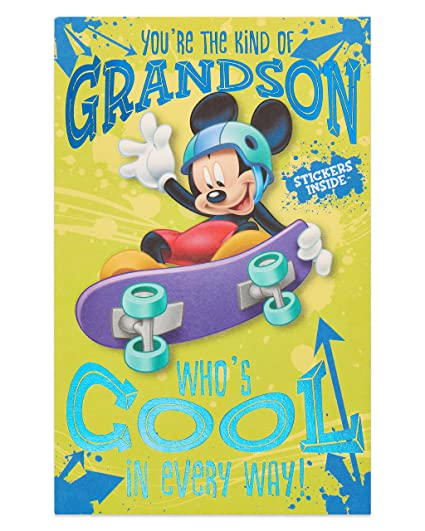 American Greetings Mickey Mouse Birthday Card For Grandson With Foil
