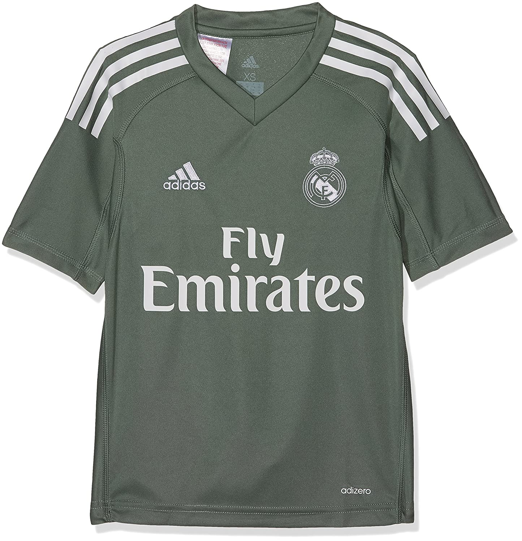 9795a8a43 adidas Childrens Replica Real Madrid Home Goalkeeper Shirt ...