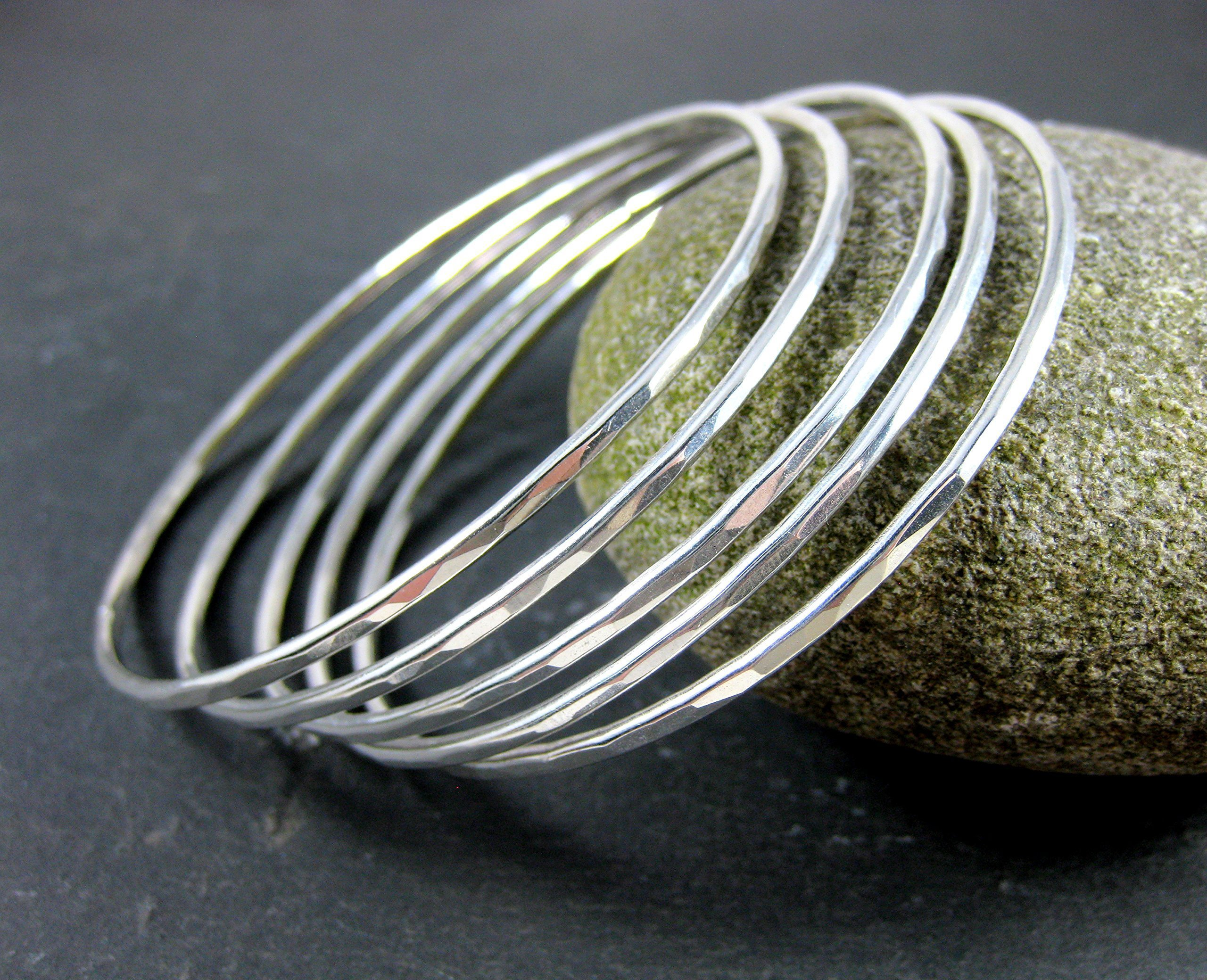 5 Silver Bangles Hammered Solid Sterling Silver Jewelry by Glass River Jewelry