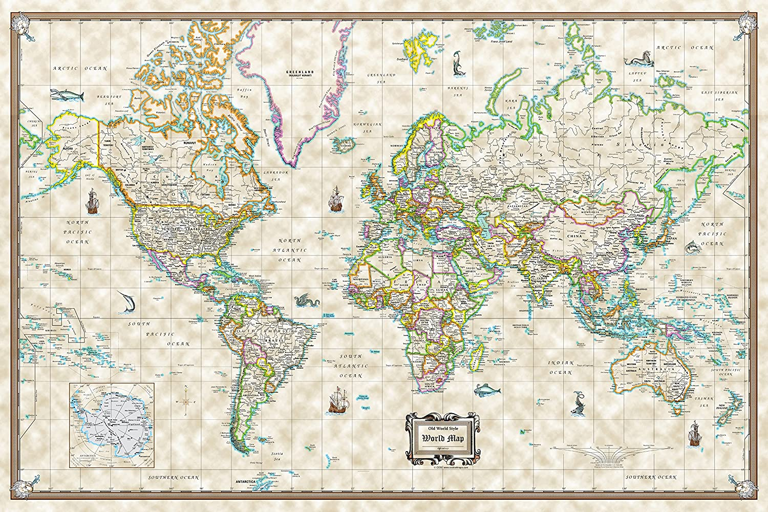 Amazon antique world wall map old world style poster size amazon antique world wall map old world style poster size 36x24 rolled paper office products gumiabroncs Choice Image