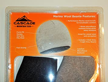 Cascade Mountain Tech Merino Wool Beanie(pack of 2)  Amazon.co.uk ... 73c89b37032