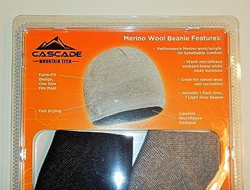 1d58c637975be Cascade Mountain Tech Merino Wool Beanie(pack of 2)  Amazon.co.uk ...