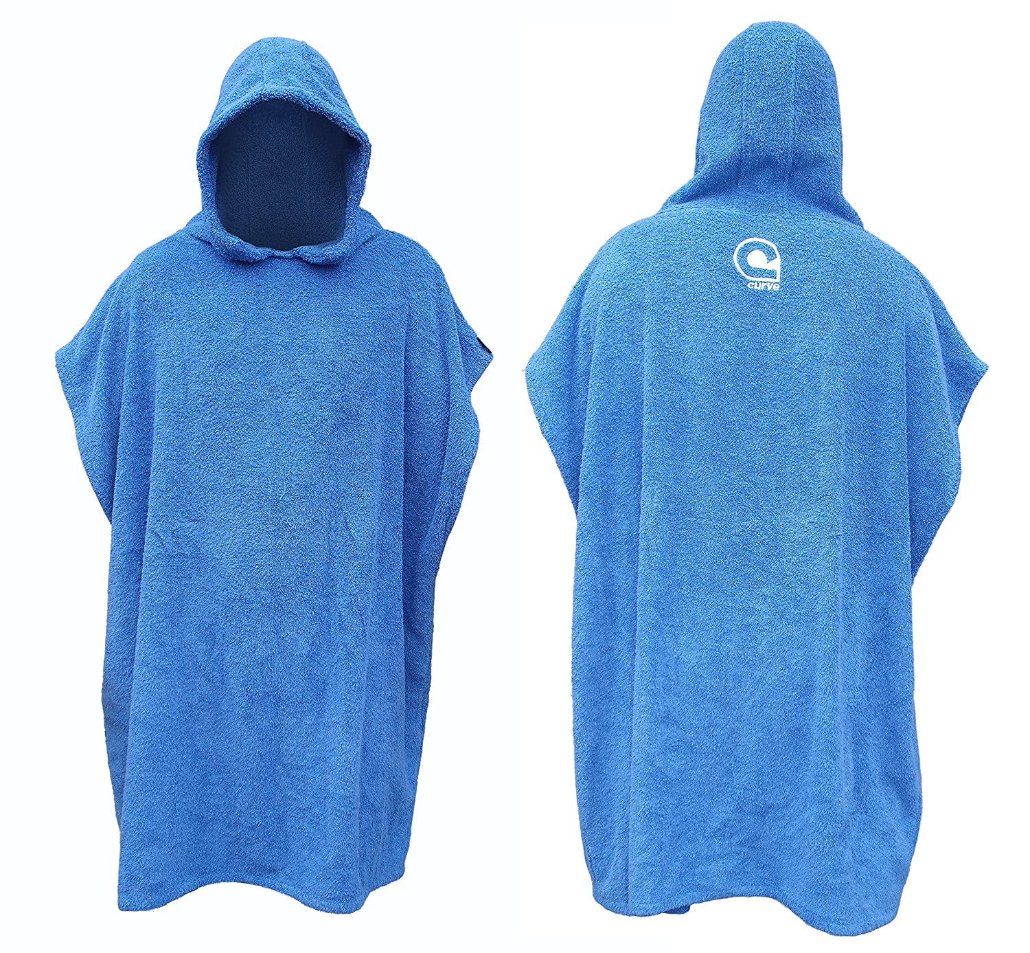 KIDS Swimming Robe Surf Beach Poncho in 100% COTTON Hooded Towel w adjustable sleeves [CHOOSE COLOR] Curve