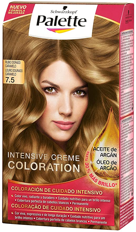Palette Intense Color Cream Coloración Permanente, Tono 7.5 Rubio Dorado Caramelo - 115 ml
