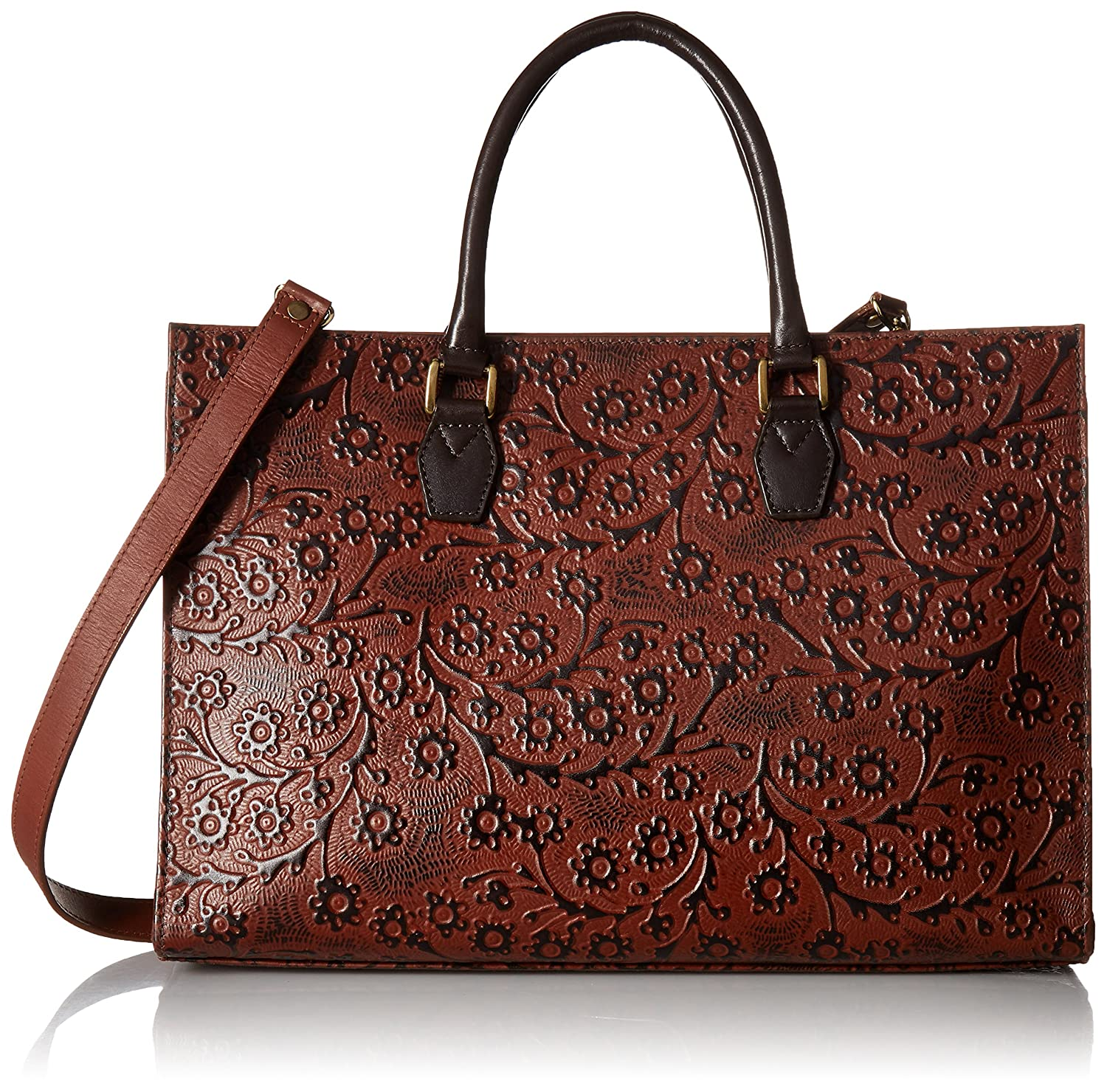 89bb5e083 Scully Floral Embossed Tan Leather Shoulder Bag (Tan): Handbags: Amazon.com