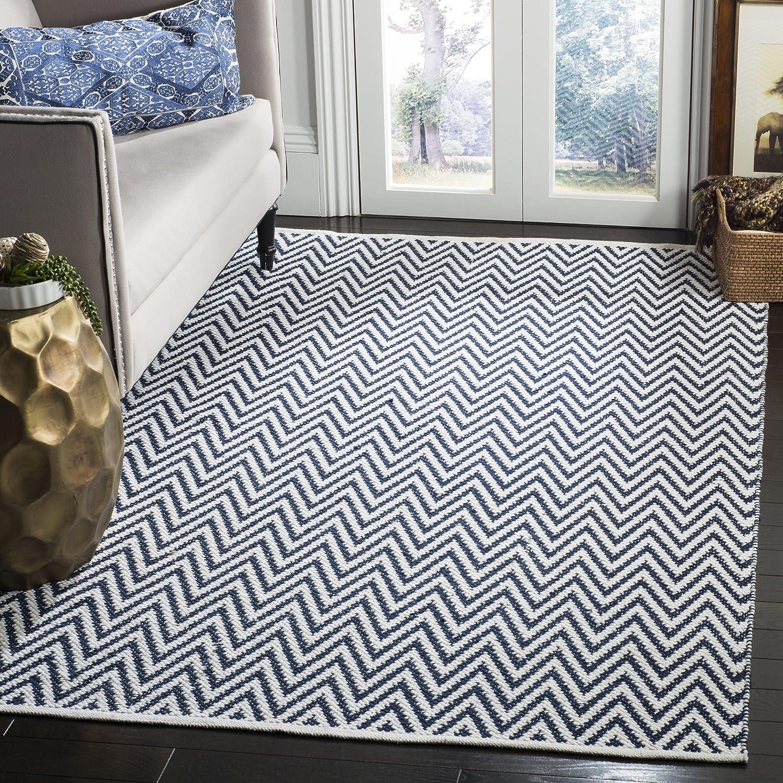 Amazon com safavieh montauk collection mtk812c handmade flatweave navy and ivory cotton area rug 4 x 6 kitchen dining