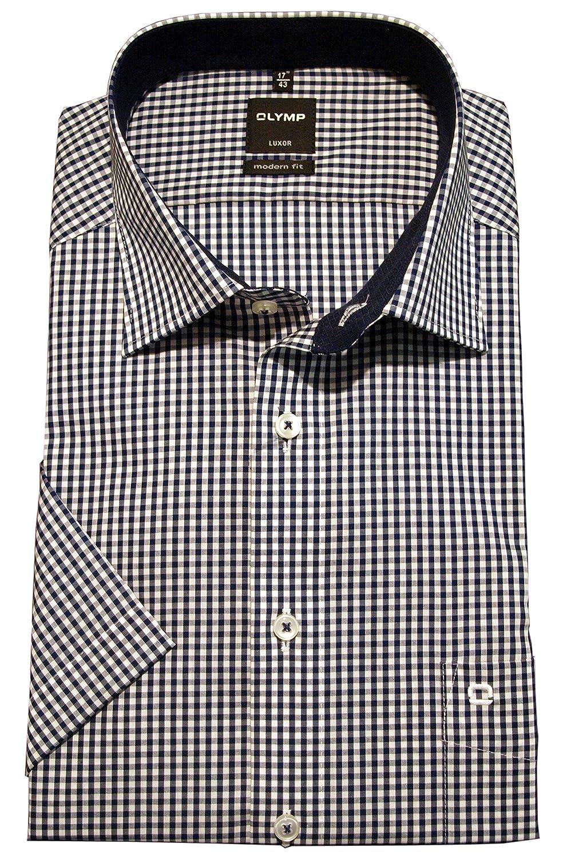 Olymp Camisa Formal - Cuadrados - con Botones - Manga Corta - Para Hombre