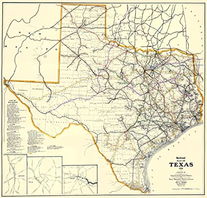 Map Of Texas Railroads.Amazon Com Old Railroad Map Texas Railroads Dodge 1926 23 X