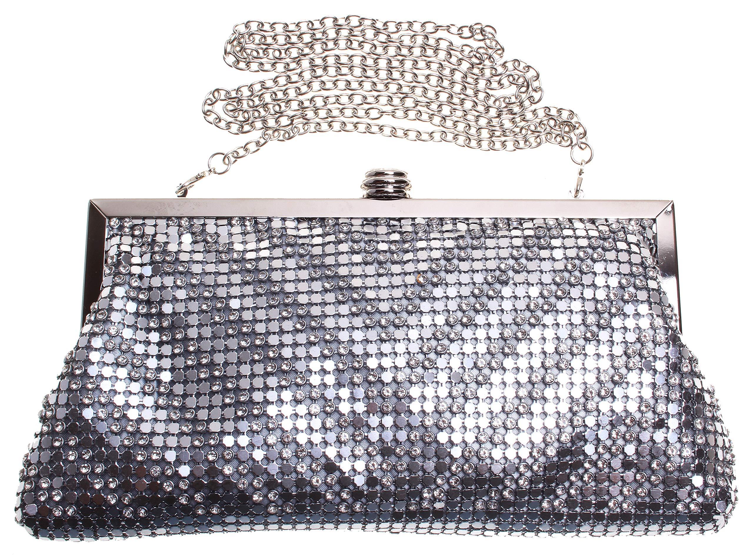 International Concepts Sequins Glitter Clutch Evening Bag;Silver (9.5''LX5''HX1''D)