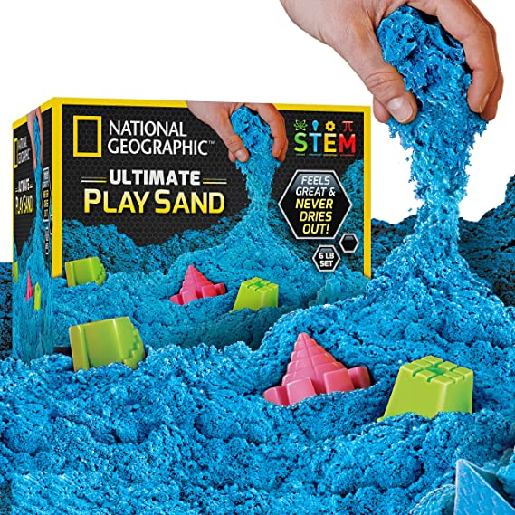 Pink 2 LBS of Sand with Castle Molds and Tray - A Kinetic Sensory Activity NATIONAL GEOGRAPHIC Play Sand