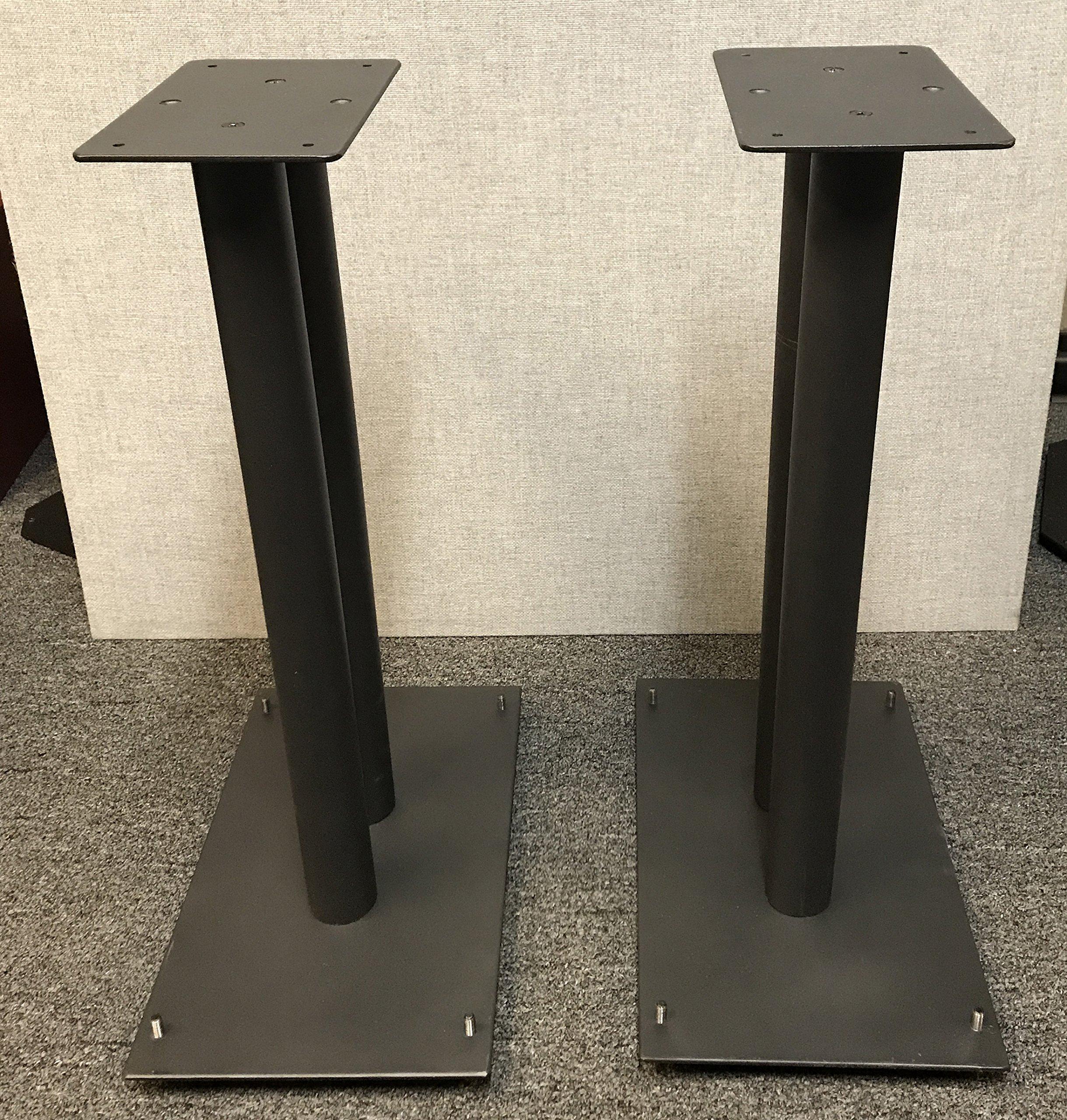 Vega A/V Systems 24'' Heavy Duty, Steel Speaker Stands | Fillable | For Klipsch Bookshelf Speakers | Set of 2 | Steel Carpet Spikes | 10'' x 16'' 4mm Steel Base, 6'' x 9'' Speaker Pedestal | Black by Vega