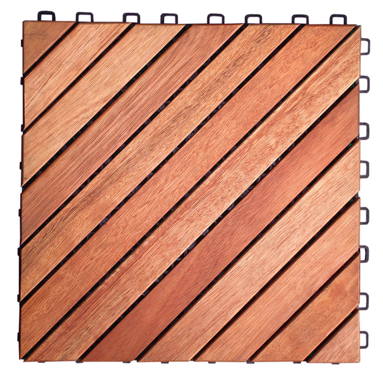 Amazon VIFAH V182 Interlocking FSC Eucalyptus Deck Tile 12