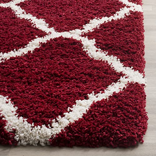 Safavieh Hudson Shag Collection SGH283R Red and Ivory Moroccan Geometric Area Rug 6 x 9
