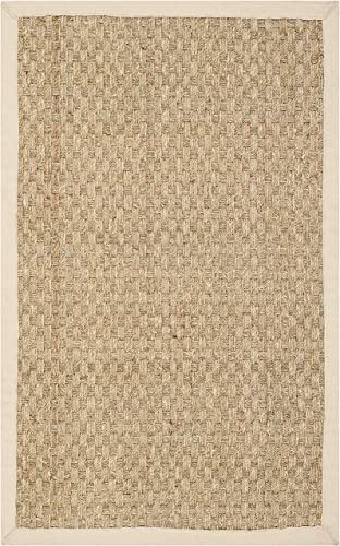 Safavieh Natural Fiber Collection NF114A Basketweave Natural and Beige Summer Seagrass Area Rug 2'6″ x 4'