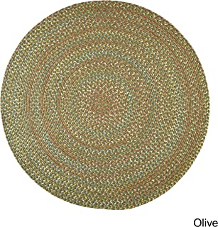 product image for Rhody Rug Cozy Cove Indoor/Outdoor Braided Rug Olive 8' Round Border 0.25-0.5 inch Antimicrobial, Stain Resistant 8' Round Outdoor, Indoor Beige