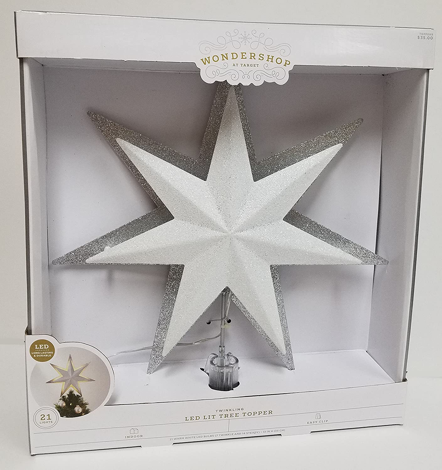 Wondershop 13'' Lit White/Silver Glitter Backlit Star Tree Topper