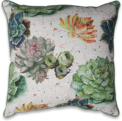 Amazon Com Pillow Perfect Succulent Plants Aloe Green 18 Inch Throw Pillow Home Kitchen