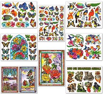 Amazoncom Nature Window Clings Butterflies Birds Flowers Fish - Bird window stickers amazon