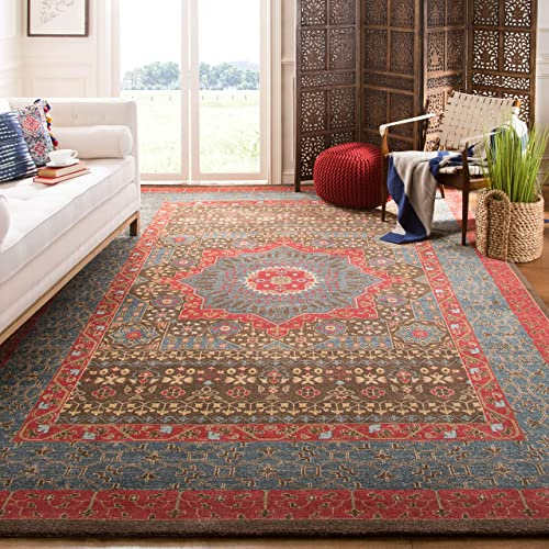 Safavieh Mahal Collection MAH620C Traditional Oriental Navy and Red Area Rug 11' x 16'