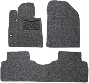 MACHA Coil Car Floor Mats Custom Fit for Hyundai Santa Fe 2018.Feb~Current, Gray - Front & 2nd Seat Floor Mats All Weather Waterproof High Comfort