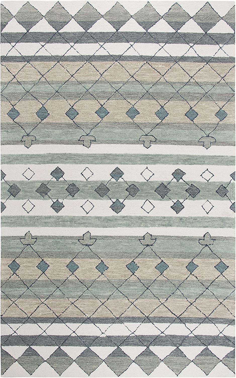 "Rizzy Home Resonant Collection Wool Area Rug, 2'6"" x 8', Gray/Ivory/Tan/Blue Gray/Sage Green/Dark Green Tribal Motif"