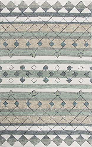Rizzy Home Resonant Collection Wool Area Rug, 10 x 13 , Gray Ivory Tan Blue Gray Sage Green Dark Green Tribal Motif